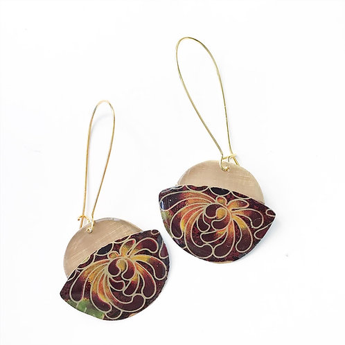Vintage Tin Earrings, UFO, Kidney Wire, in Brown and Gold Swirl