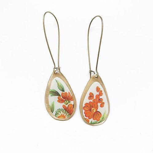 Vintage Tin Earrings, Resin, Wide Drop, Kidney Wire in Orange Wild Flower