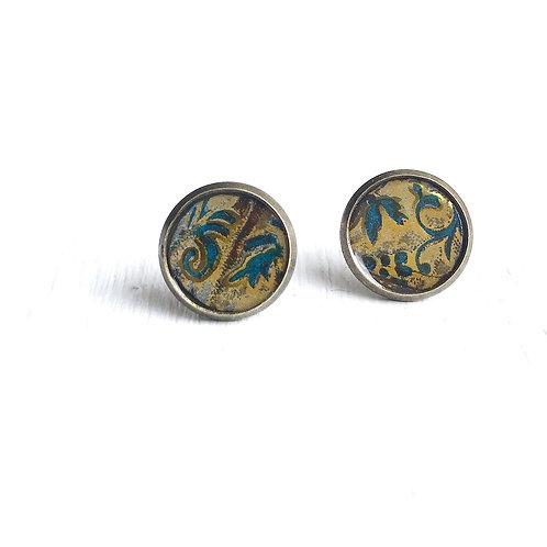 Vintage Tin Earrings, Resin Studs in Golden Design