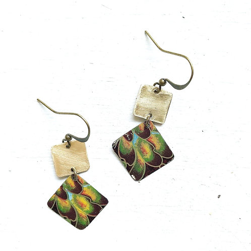 Vintage Tin Earrings, Stacked Squares in Peacock Feathers