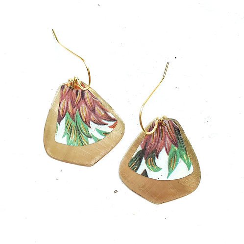 Vintage Tin Earrings, Pointed Drop in Pretty Mauve Petals