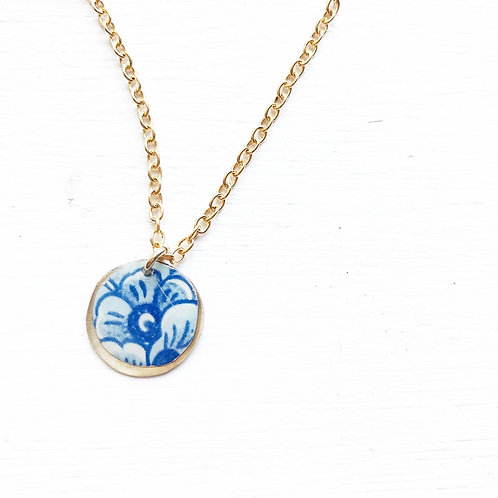 Vintage Tin Necklace, Resin Coin in Royal China