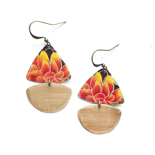 Vintage Tin Earrings, Pretty Sails in Fire Floral