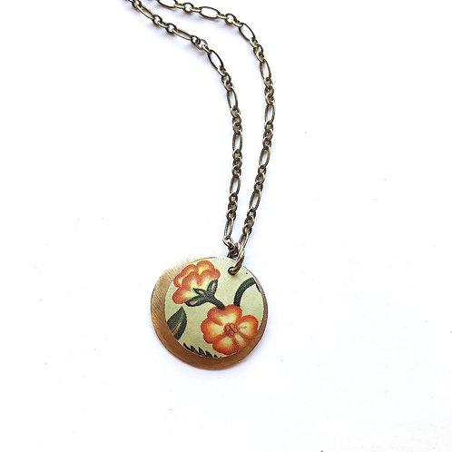 Vintage Tin Necklace, Layered Coin, Orange Flower on Cream Background