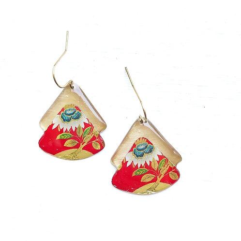 Vintage Tin Earrings, Resin Dangles, Layered Fans in Red, White, & Blue Flower