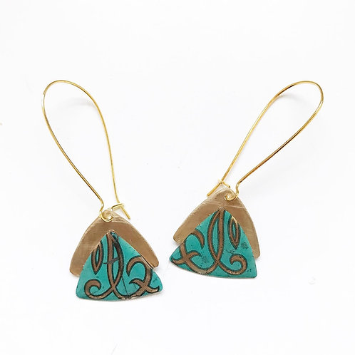Vintage Tin Earrings, Resin, Stacked Triangle, Kidney Wire in Turquoise Swirl