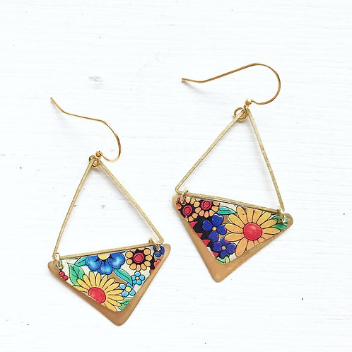 Vintage Tin Earrings, Brass Triangles in Happy Garden