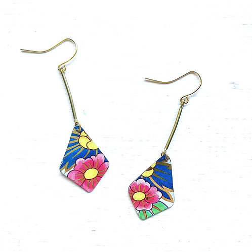 Vintage Tin Dangling Diamond with Pink and Blue Flowers