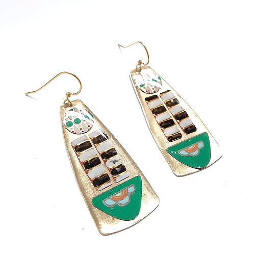Vintage Tin Earrings, Mosaic Column in Bold Black, White and Green
