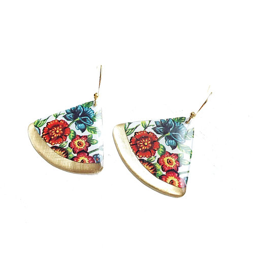 Vintage Tin Earrings, Resin Dangles in Colorful Garden Fan