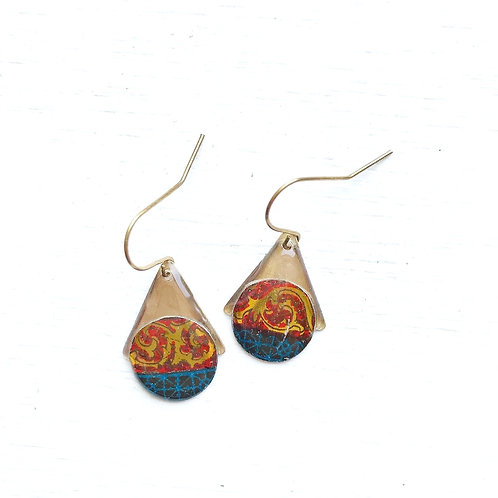Vintage Tin Earrings, Resin Dangles, Petite Pointed Dots in Red, Navy and Gold