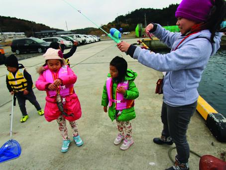 石巻市渡波で親子釣り大会開催