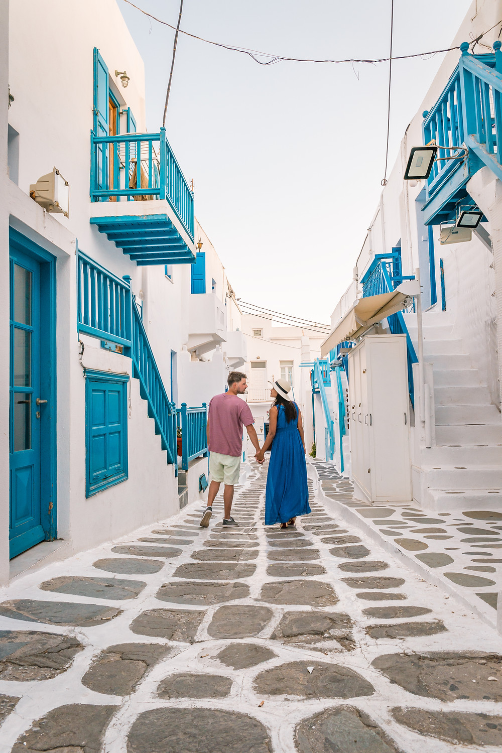 cobblestone, couples, Santorini