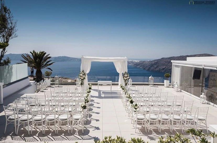 caldera view wedding venue le ciel santorini bride