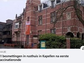 """WZC Kapellen : 41 bewoners + 18 personeelsleden """"besmet"""" na vaccinatie"""