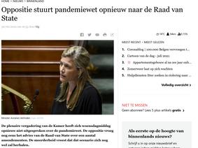 Pandemiewet terug naar Raad van Stae verzonden