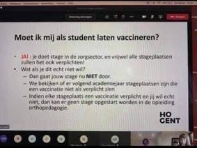 HoGent over vaccins voor studenten