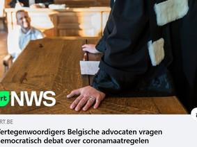 VRT 10.02.2021: Vertegenwoordigers Belgische advocaten vragen democratisch debat over C-maatregelen