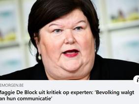 Maggie De Block zegt haar gedacht over de experten (die ze zelf heeft aangesteld...)