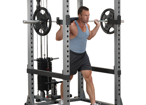 Body-Solid Power Rack Lat Package with Bench