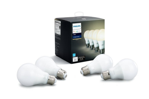Philips Hue White A19 4-Pack 60W Equivalent Dimmable LED Smart Bulb (Compatible with Amazon Alexa, Apple HomeKit and Google Assistant)