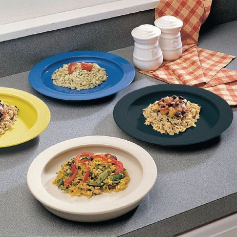 """Sammons Preston Plate with Inside Edge, 9"""" Plate with Food Spill Prevention Aid, Durable Plates with Inner Lip, Eating Support for Children, Adults, Elderly and Disabled, Polypropylene, Black"""