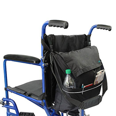 Wheelchair Bag by Vive - Accessory Storage Bag for Carrying Loose Items & Accessories - Travel Storage Tote & Backpack w/ Accessible Pouch & Pockets, Black