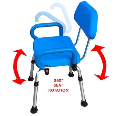 Platinum Health Revolution Pivoting Shower Chair with Padded Back and Arms