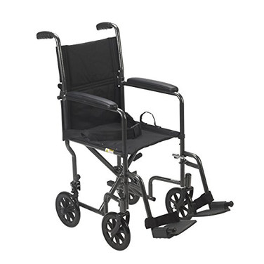 """Drive Medical Lightweight Steel Transport Wheelchair, Fixed Full Arms, 19"""" Seat"""