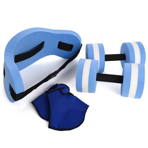Ivation Water Exercise Set – 6 Piece Set – Water Workout and Aerobics – Floatation Belt, Resistance Gloves, Dumbbells