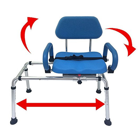 Carousel Sliding Transfer Bench with Swivel Seat. Premium PADDED Bath and Shower Chair with Pivoting Arms. Space Saving Design. NEW for 2017.