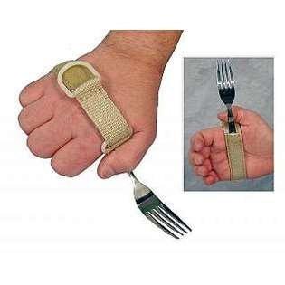 Sammons Preston 1481 Utensil Holder, MCP width 3 ¼- 4 ½, Universal Hand Strap for Holding Utensils, Adjustable ADL Eating Assistance Cuff for Weak Grip