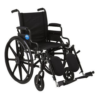 """Medline Premium Ultra-lightweight Wheelchair with Flip-Back Desk Arms and Elevating Leg Rests for Extra Comfort, Black, 18"""" x 16"""" Seat"""