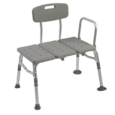 Plastic Tub Transfer Bench with Adjustable Backrest, Gray