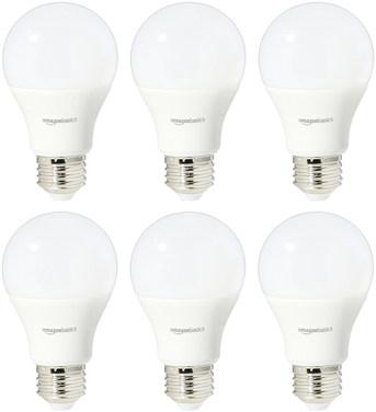 AmazonBasics 60 Watt Equivalent, Daylight, Dimmable, A19 LED Light Bulb - 6 Pack