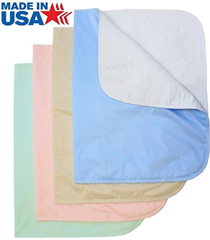 Washable Bed Pads / Reusable Incontinence Underpads 30x36 - 4 PACK - Blue, Green, Tan and Pink - Ideal For Children And Adults Wholesale Incontinence Protection