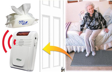 Smart Caregiver Economy Cordless Fall Monitor and Cordless Floor Mat Sensor Bundle With Pouch of 30 AudioWipes