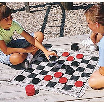 Brybelly Giant 3-in-1 Checkers and Mega Tic Tac Toe with Reversible Rug