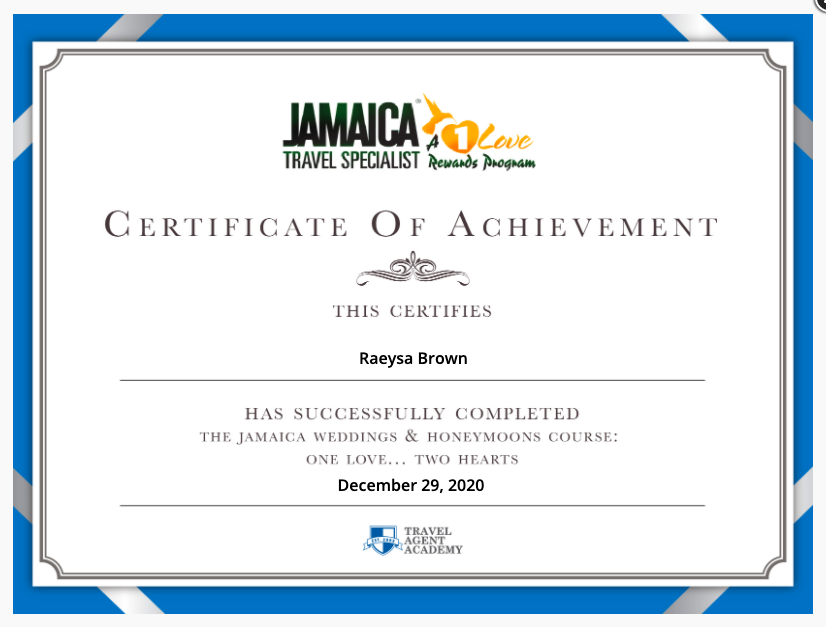 Jamaica Weddings & Honeymoon Certification