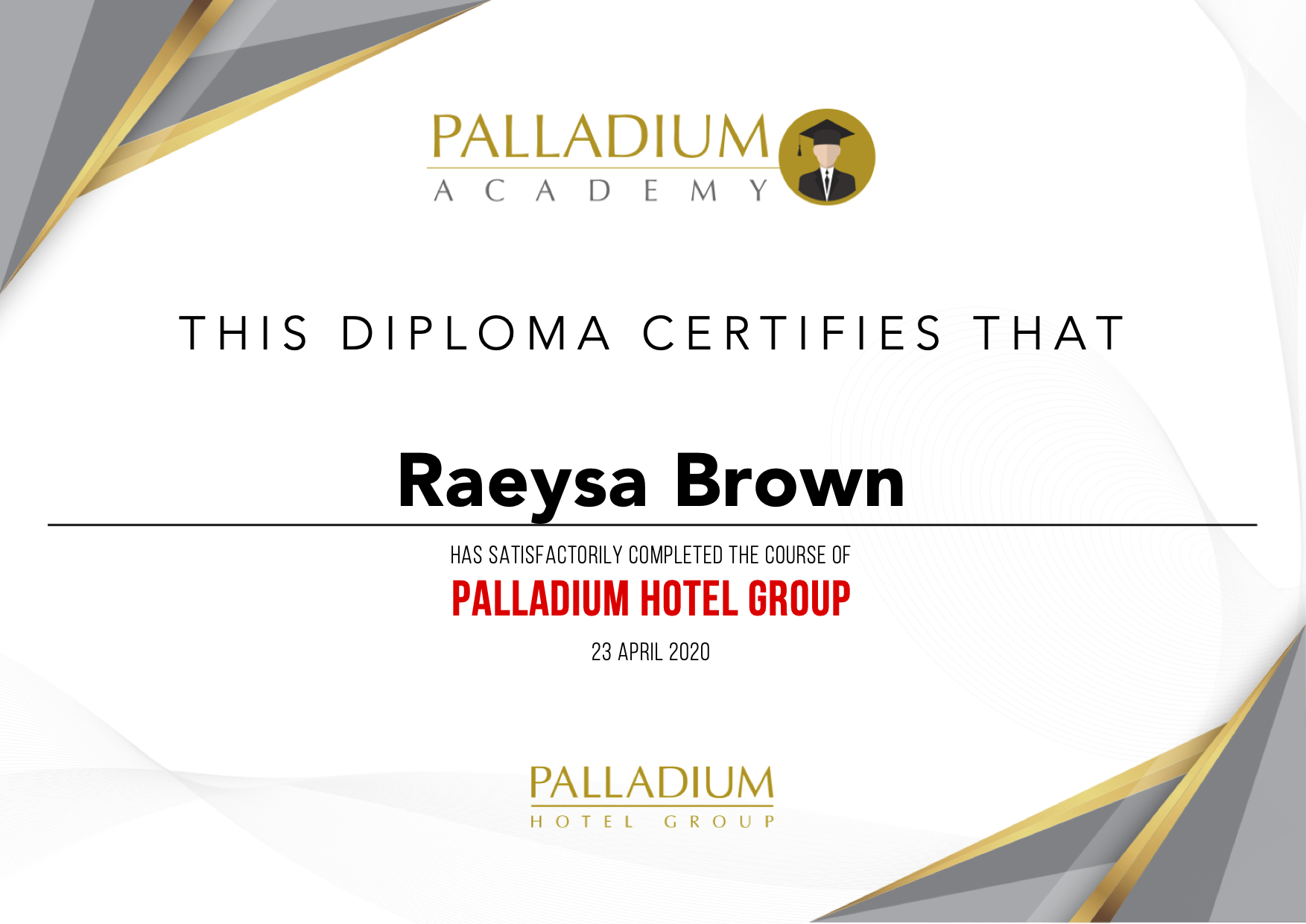 Diploma Palladium Hotel Group
