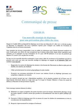 COMMUNIQUE DE PRESSE COVID-19 : UNE NOUVELLE STRATÉGIE DE DÉPISTAGE POUR UNE PRÉVENTION PLUS CIBLÉE