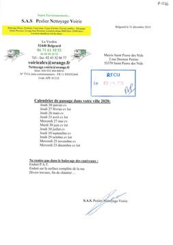 AVIS DE PASSAGE : Calendrier 2020 de passage du nettoyage des voiries