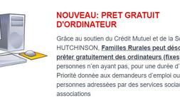 FAMILLES RURALES : PRÊT GRATUIT D'ORDINATEUR
