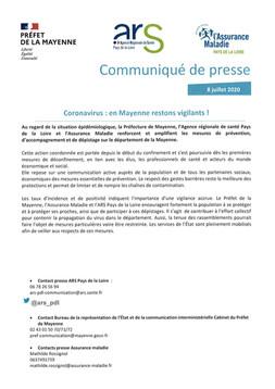 COMMUNIQUE DE PRESSE : COVID-19 EN MAYENNE.