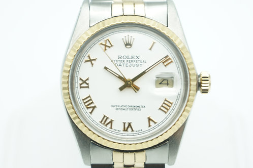 Rolex Datejust Two Tone White Roman Numeral Dial