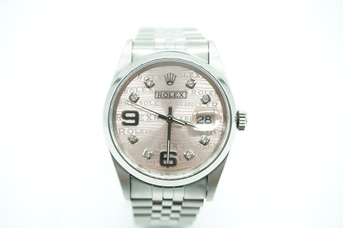 Rolex Datejust Pink Rhodium Diamond Dial Stainless Steel