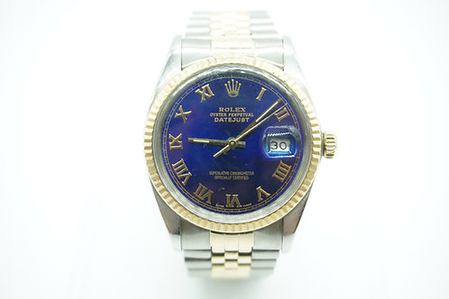 Rolex Datejust Two Tone Jubilee Fluted Blue Roman Dial