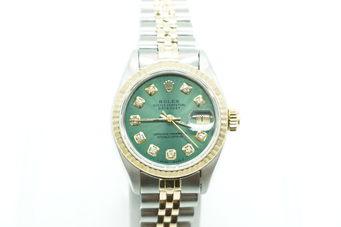 Rolex Datejust 26 Two Tone Green Diamond Dial
