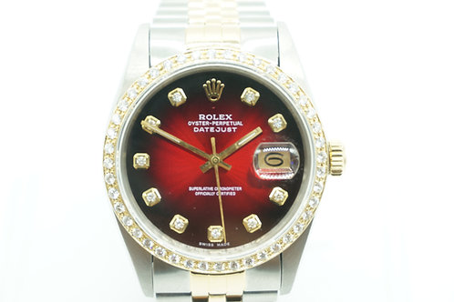 Rolex Datejust 36mm Red Diamond Dial Diamond Bezel