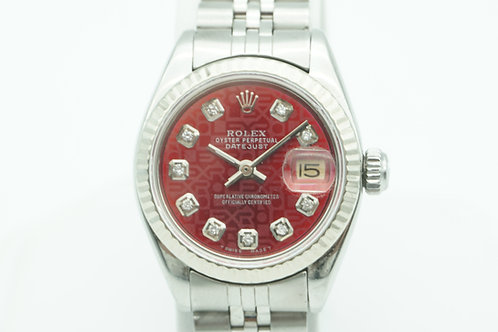 Rolex Datejust 26mm Red Jubilee Diamond Dial